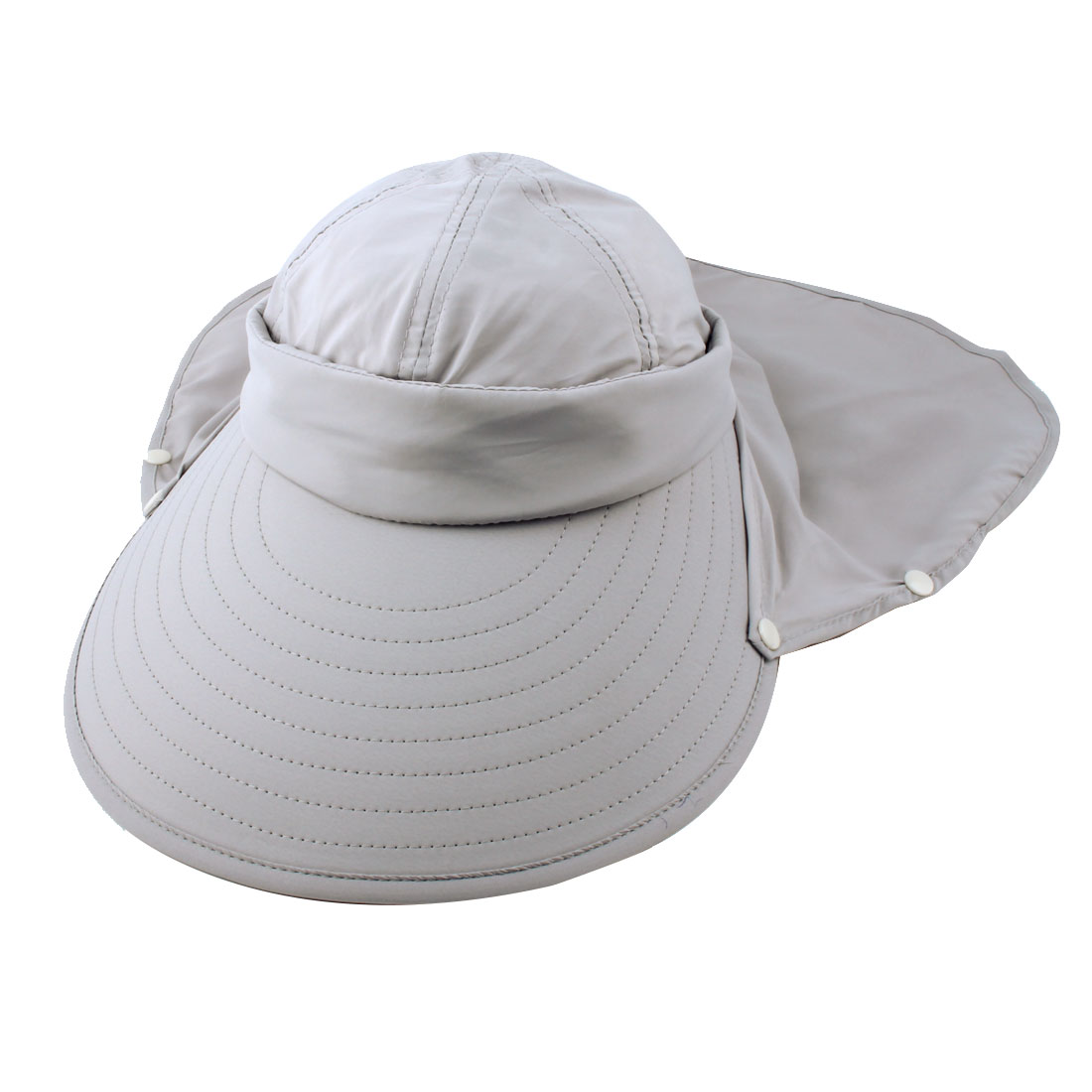 Lady Outdoor Summer Cotton Blends Wide Brim Face Neck Cover Sun Visor Protector Hat Gray