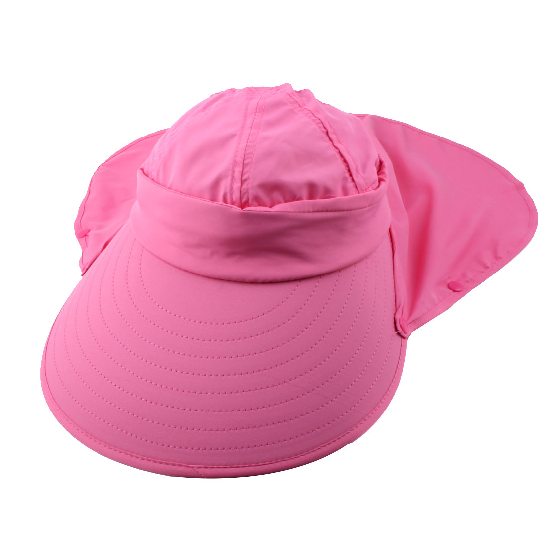 Lady Outdoor Summer Cotton Blends Wide Brim Face Neck Cover Sun Visor Protector Hat Dark Pink