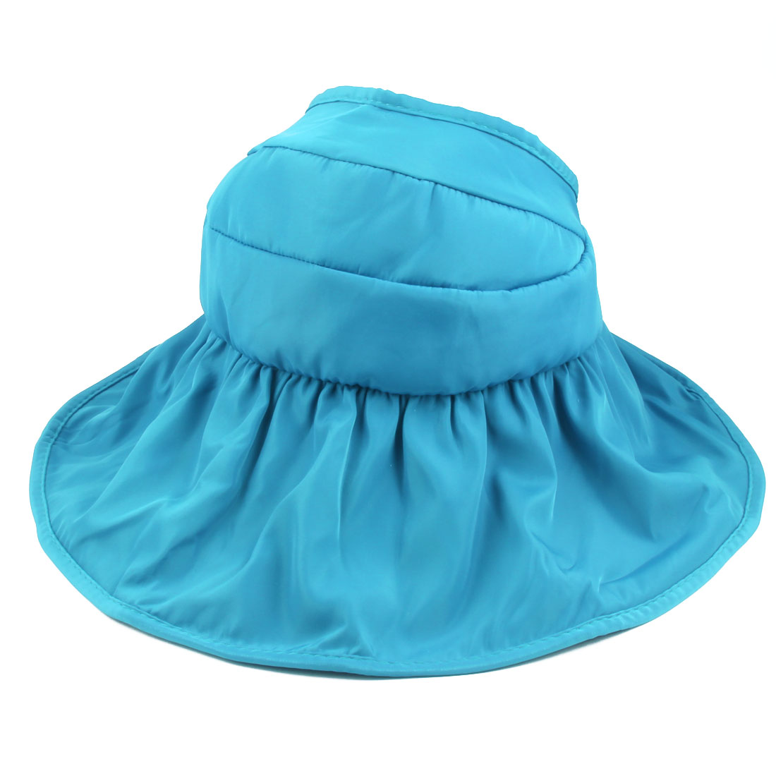 Woman Lady Summer Outdoor Holiday Wide Floppy Brim Foldable Visor Cap Sun Hat Sky Blue