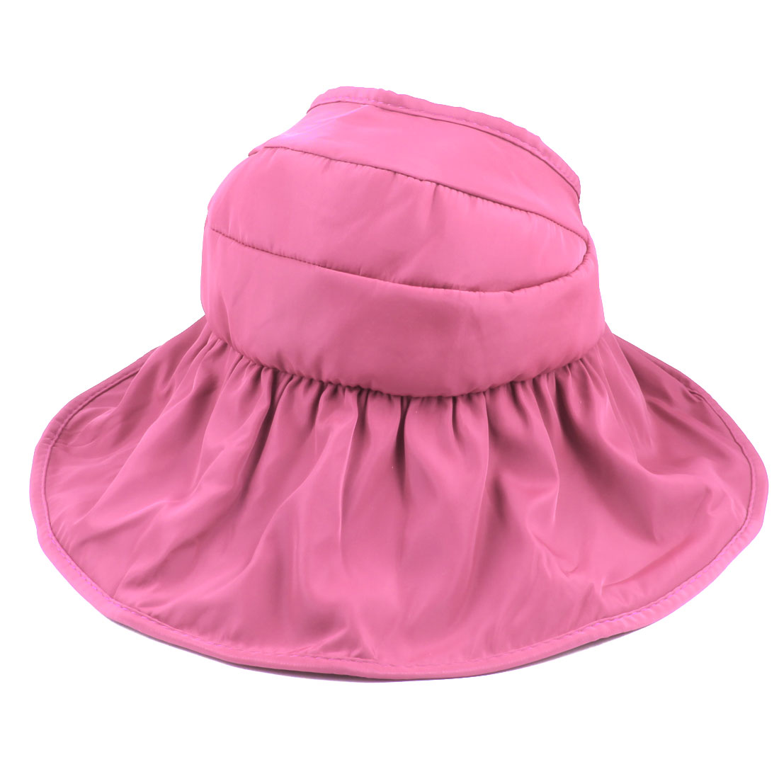 Woman Lady Summer Outdoor Holiday Wide Floppy Brim Foldable Visor Cap Sun Hat Rose Pink