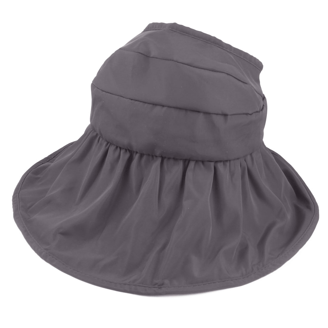 Woman Lady Summer Outdoor Holiday Wide Floppy Brim Foldable Visor Cap Sun Hat Gray