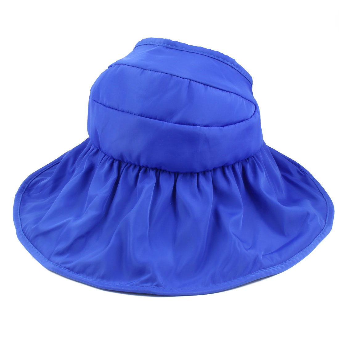 Woman Summer Outdoor Roll Up Wide Floppy Brim Foldable Visor Cap Sun Protector Hat Royal Blue