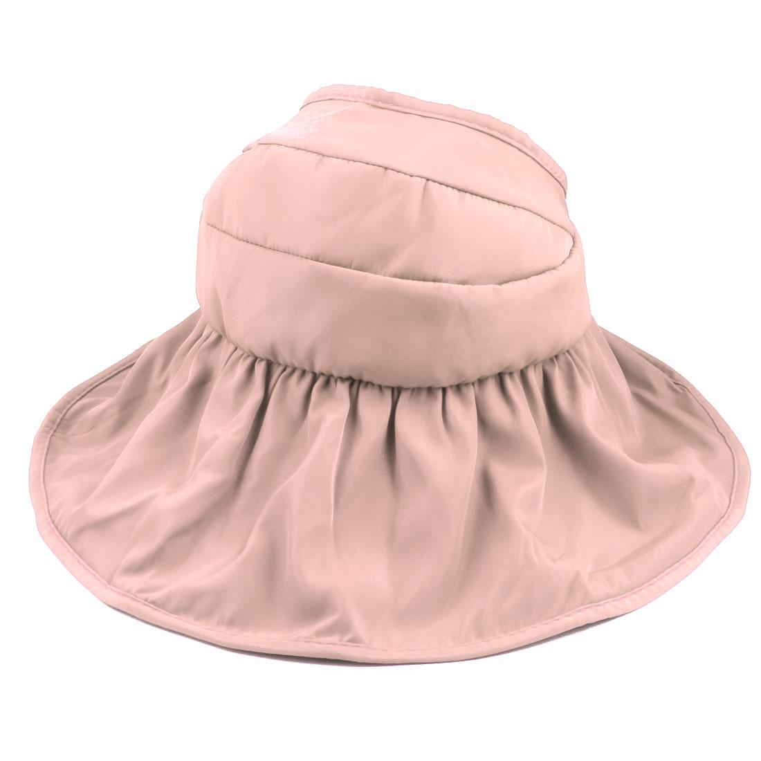 Woman Summer Outdoor Roll Up Wide Floppy Brim Foldable Visor Cap Sun Protector Hat Light Pink