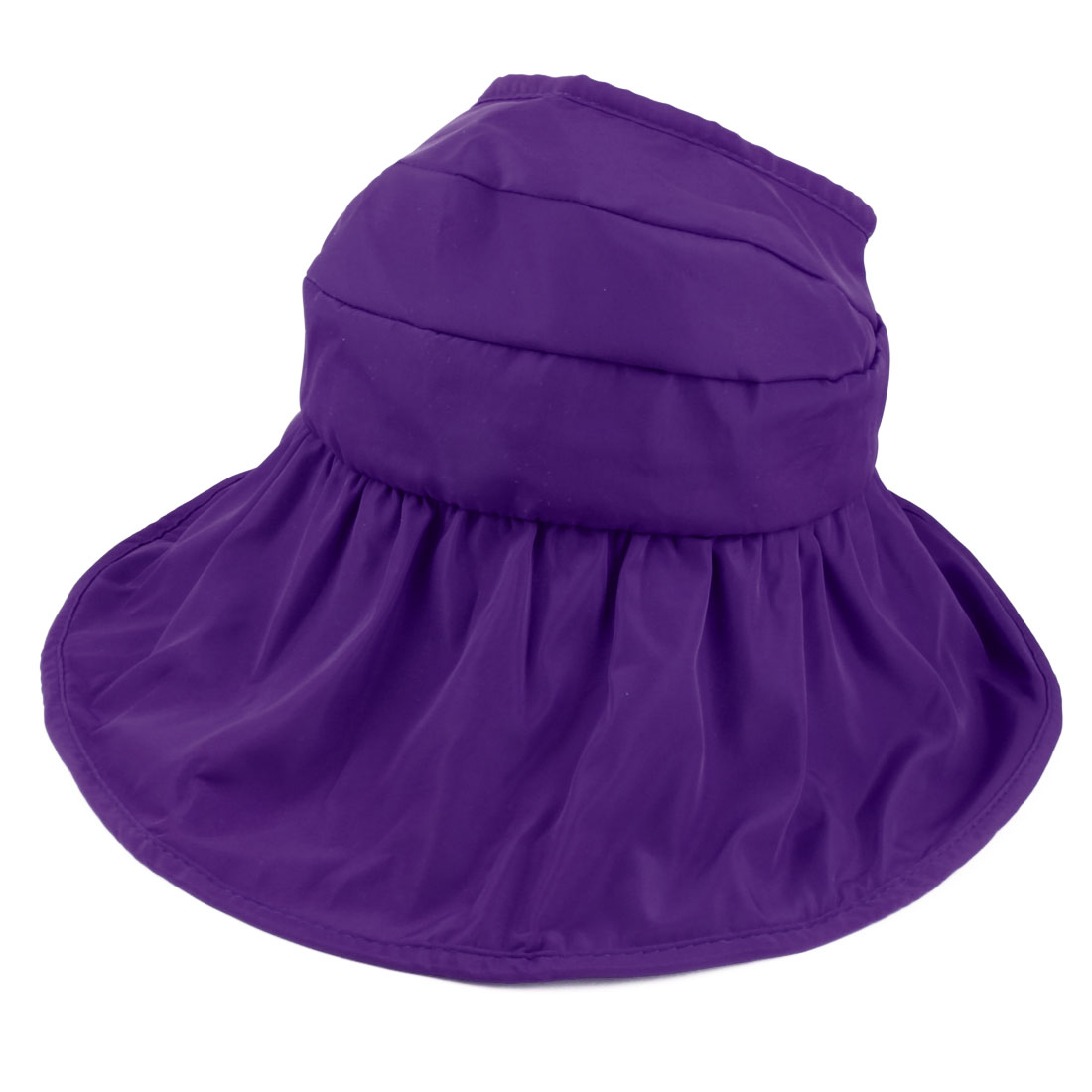 Woman Summer Outdoor Roll Up Wide Floppy Brim Foldable Visor Cap Sun Protector Hat Dark Purple