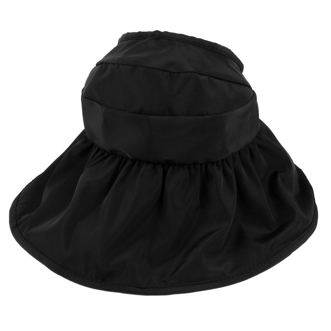 Woman Summer Outdoor Roll Up Wide Floppy Brim Foldable Visor Cap Sun Protector Hat Black