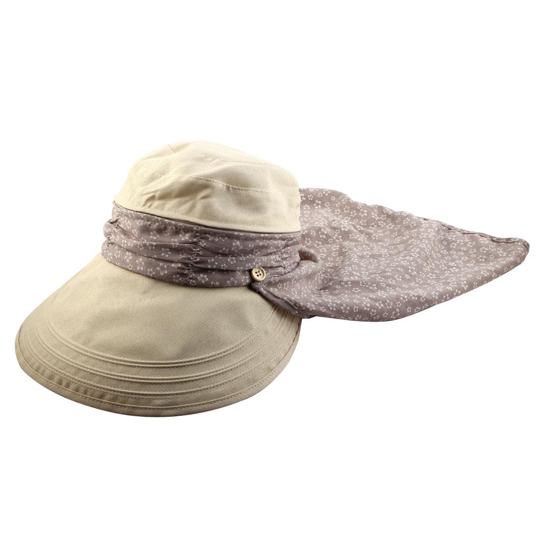 Lady Flower Printed Neck Protection Wide Brim Summer Floppy Cap Sun Visor Hat Beige