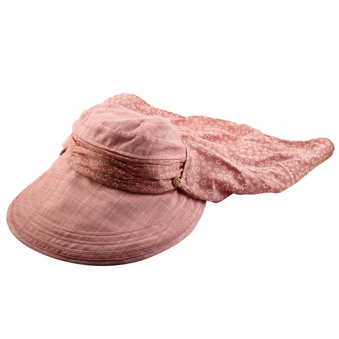 Lady Flower Printed Neck Protection Wide Brim Summer Floppy Cap Sun Visor Hat Coral Pink