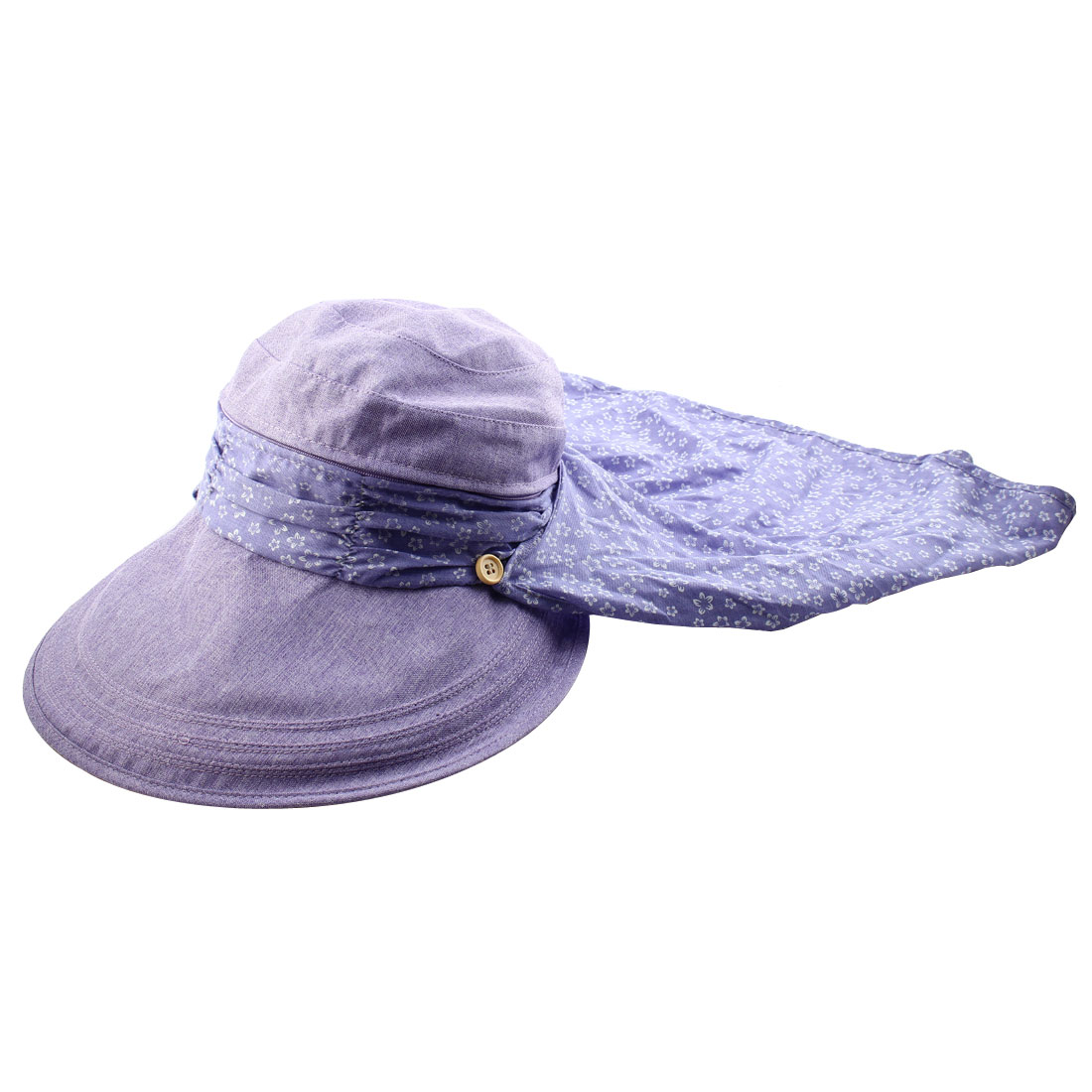 Lady Flower Printed Neck Protection Wide Brim Summer Floppy Cap Sun Visor Hat Purple