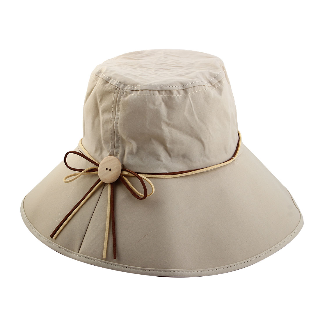 Woman Bowknot Wooden Buckle Decor Adjustable Wide Brim Summer Beach Cap Sun Hat Khaki