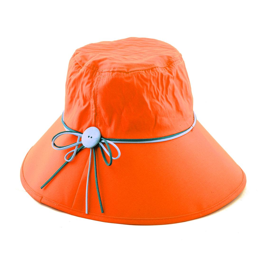 Woman Bowknot Wooden Buckle Decor Adjustable Wide Brim Summer Beach Cap Sun Hat Orange