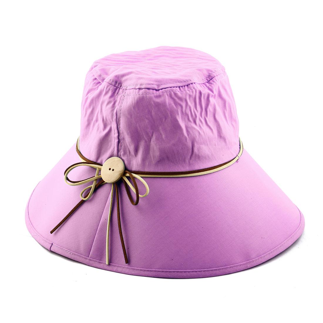Woman Bowknot Wooden Buckle Decor Adjustable Wide Brim Summer Beach Cap Sun Hat Pink