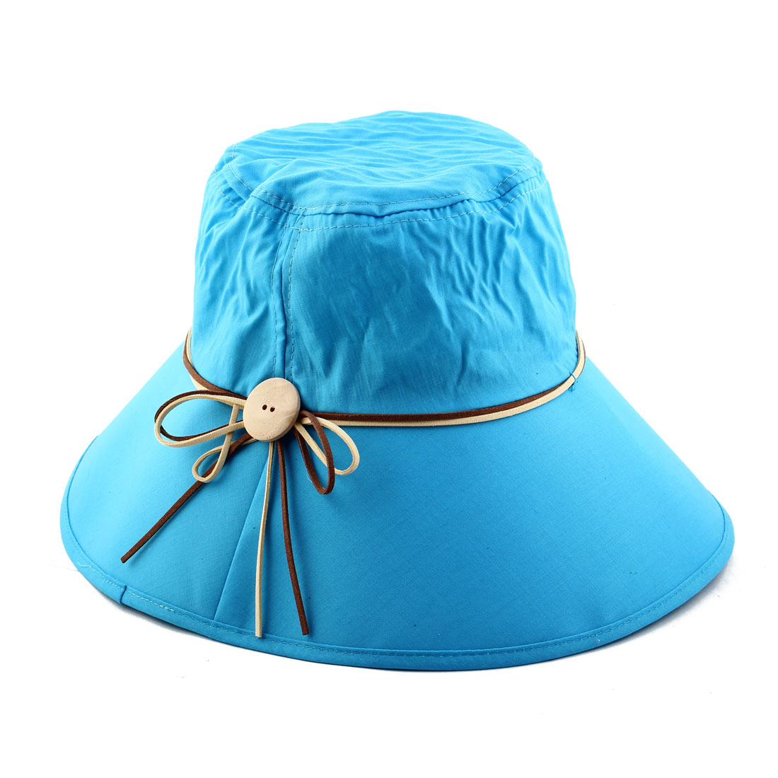 Woman Bowknot Wooden Buckle Decor Adjustable Wide Brim Summer Beach Cap Sun Hat Sky Blue