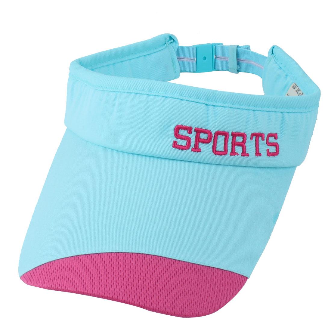 Women Summer Cotton Blends Letter Print Adjustable Outdoor Baseball Golf Sun Hat Cap Light Blue