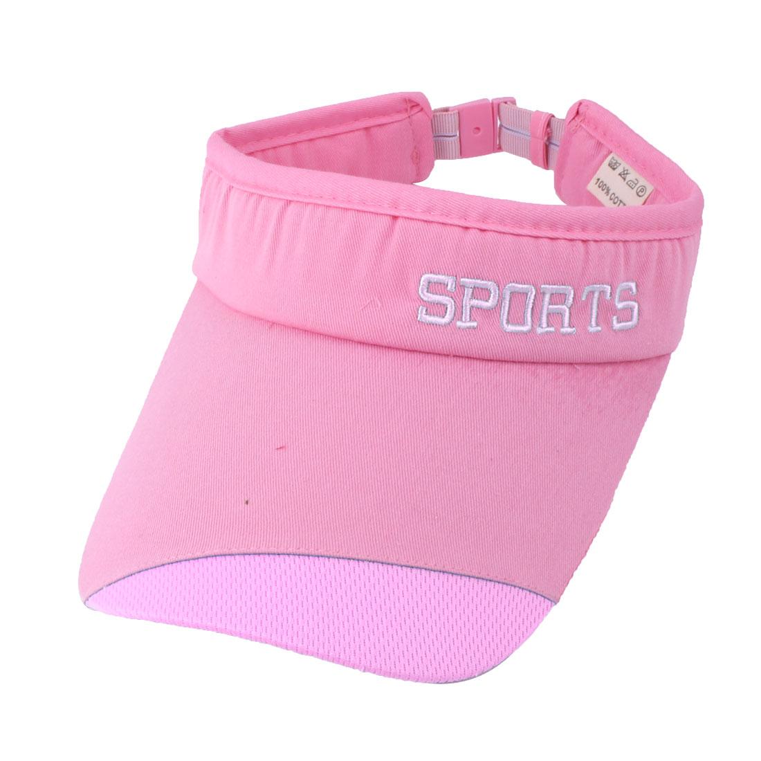 Women Summer Cotton Blends Letter Print Adjustable Outdoor Baseball Golf Sun Hat Cap Fuchsia