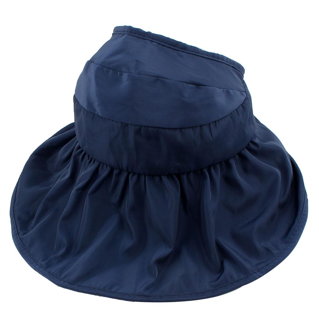 Adult Outdoor Adjustable Summer Wide Floppy Brim Cap Foldable Sun Visor Hat Blue