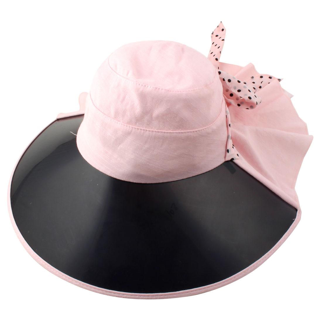 Ladies Women Vacation Travel Cycling Dots Decor Wide Brim Summer Sun Visor Protective Hat Pink