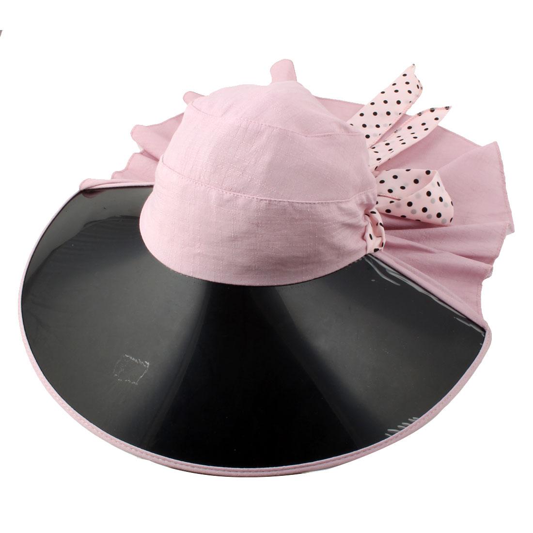 Ladies Women Vacation Travel Cycling Dots Decor Wide Brim Summer Sun Visor Protective Hat Purple
