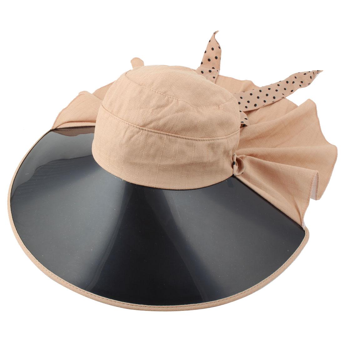 Ladies Women Vacation Travel Cycling Dots Decor Wide Brim Summer Sun Visor Protective Hat Khaki