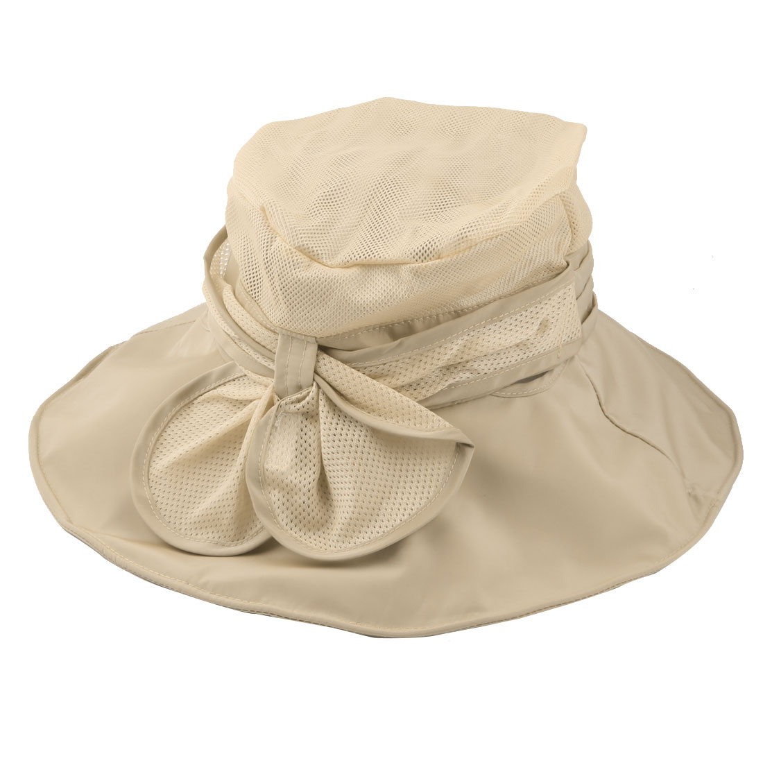 Women Summer Sea Beach Travel Polyester Foldable Floppy Sun Protector Hat Cap Beige