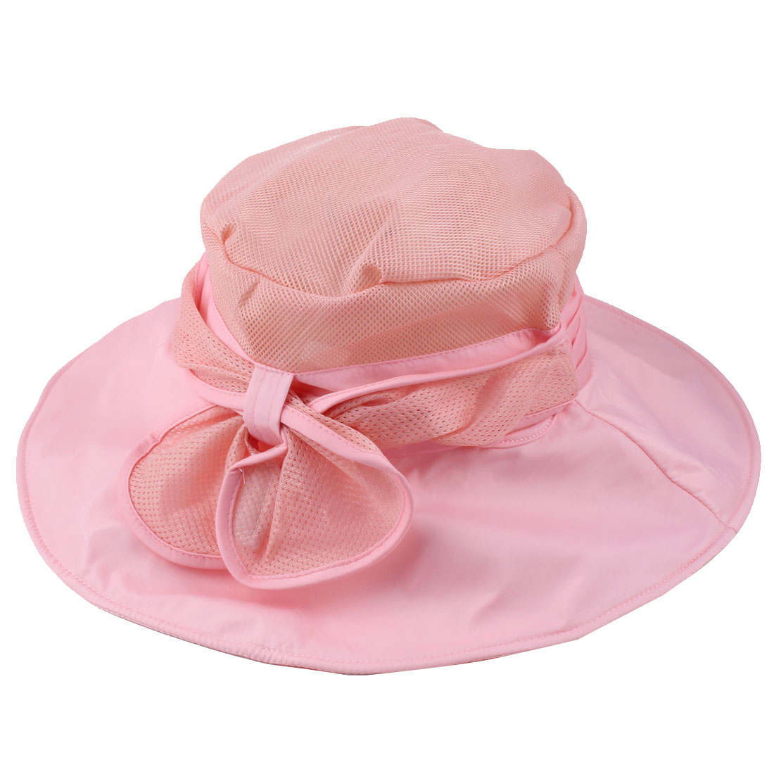 Women Summer Sea Beach Travel Polyester Foldable Floppy Sun Protector Hat Cap Pink