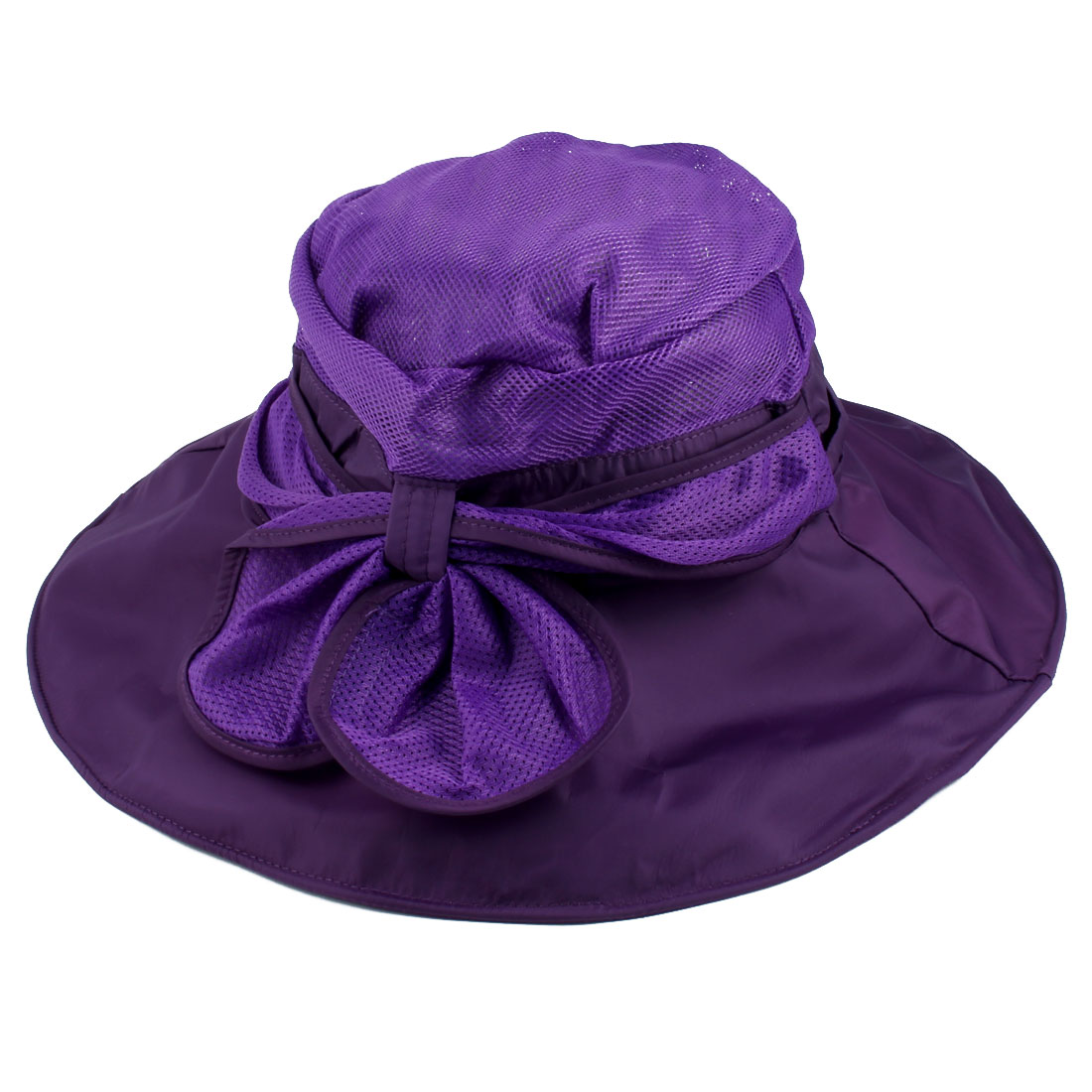 Women Summer Sea Beach Travel Polyester Foldable Floppy Sun Protector Hat Cap Dark Purple