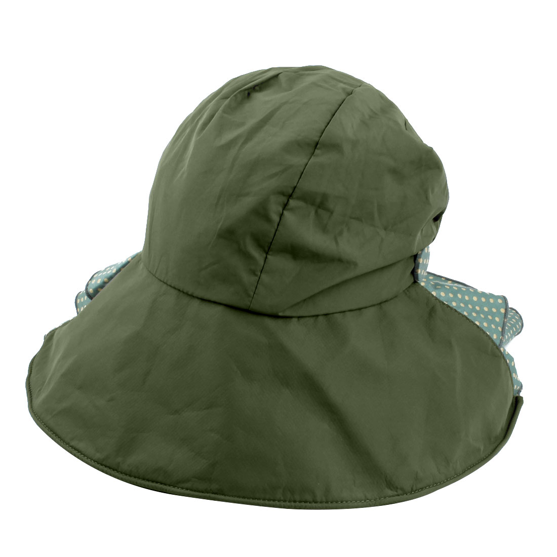 Woman Outdoor Travel Cotton Blends Dots Pattern Floppy Beach Cap Sun Visor Hat Army Green