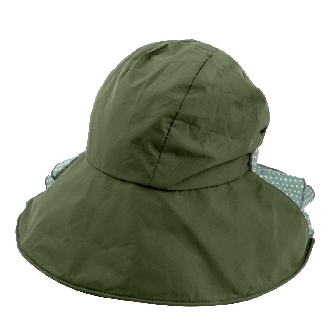 Woman Outdoor Travel Cotton Blends Dots Pattern Floppy Beach Cap Sun Visor Hat Army Green