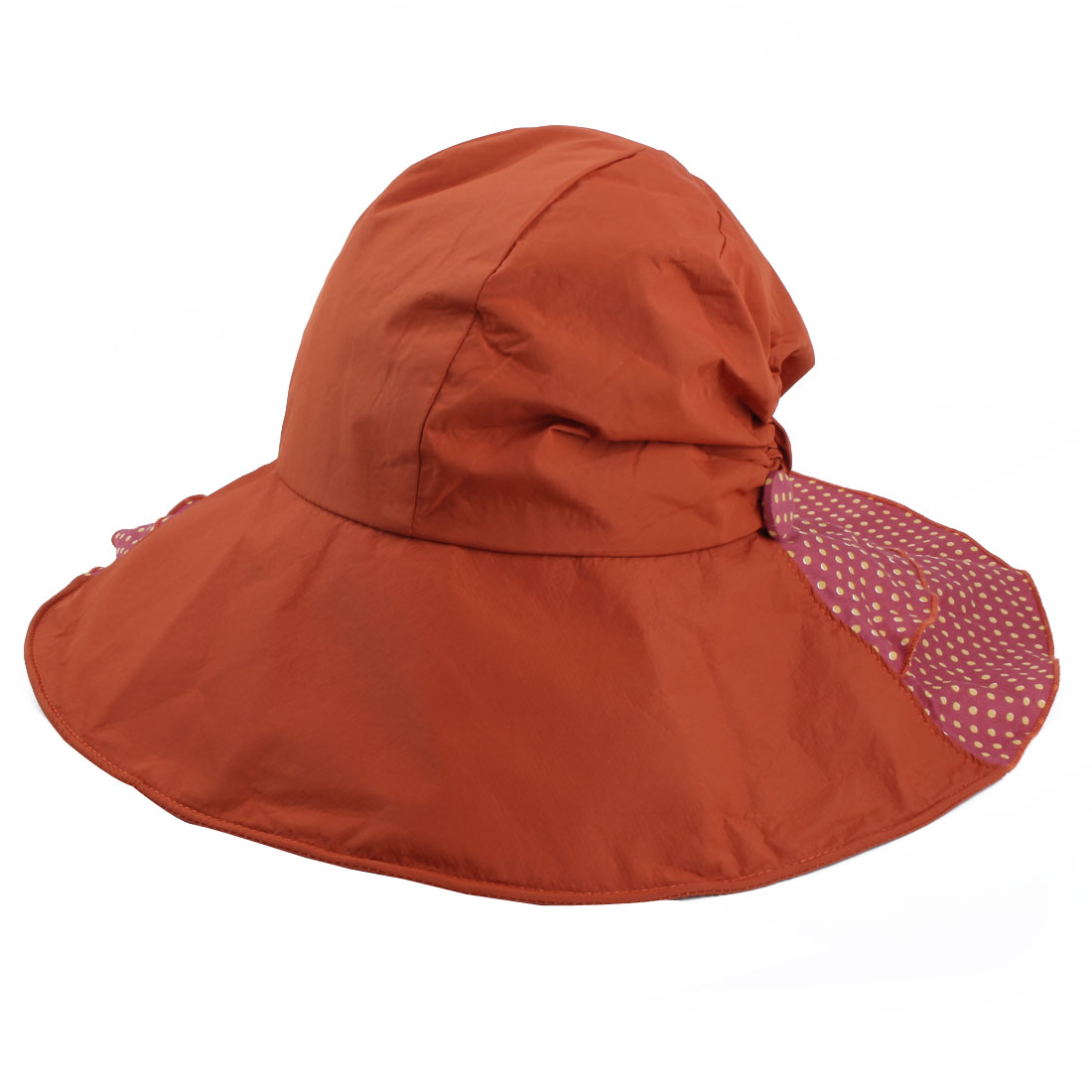 Woman Outdoor Travel Cotton Blends Dots Pattern Floppy Beach Cap Sun Visor Hat Orange