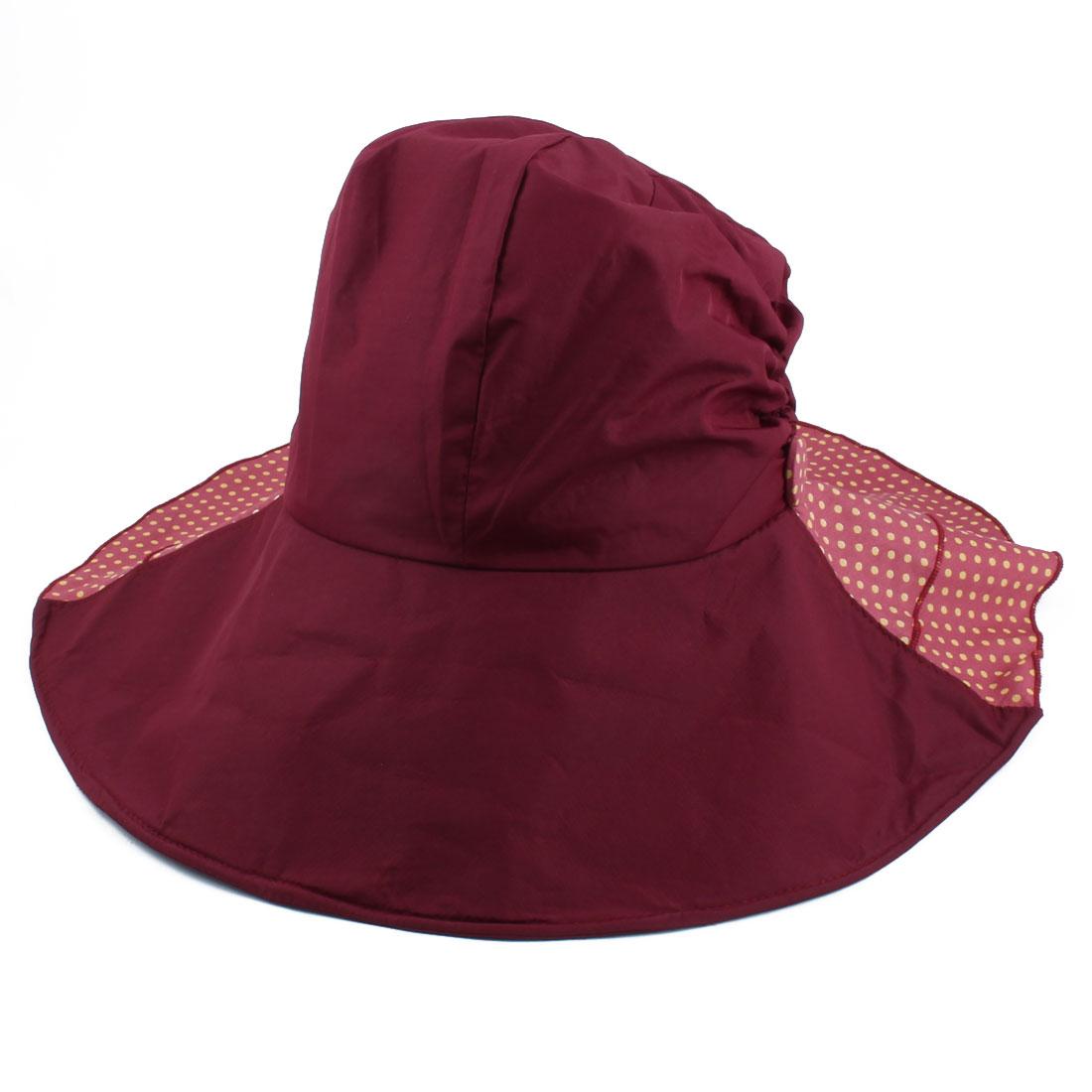 Woman Outdoor Travel Cotton Blends Dots Pattern Floppy Beach Cap Sun Visor Hat Burgundy