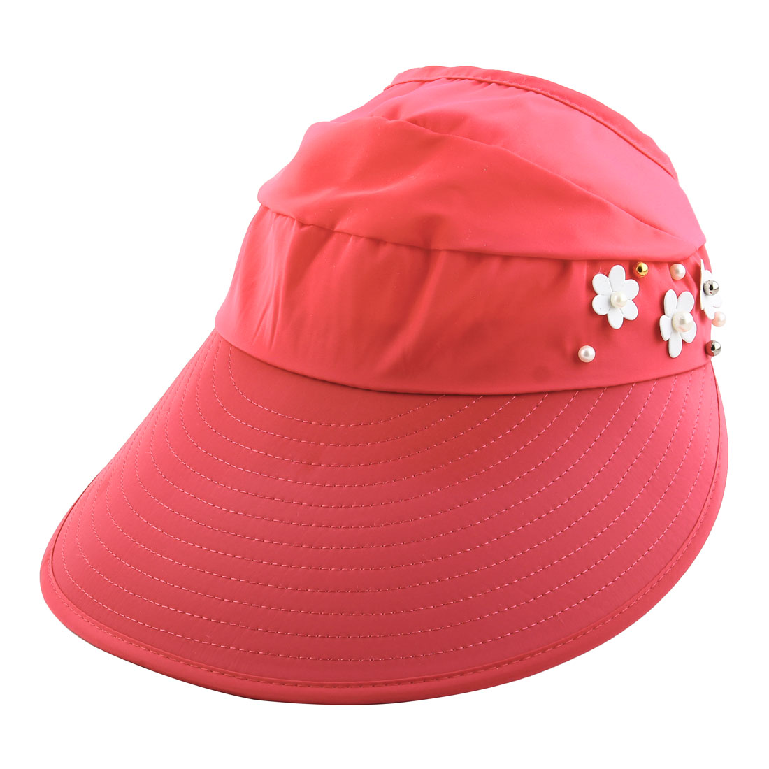 Woman Imitation Pearl Flower Decor Adjustable Summer Beach Floppy Cap Sun Visor Hat Salmon Pink