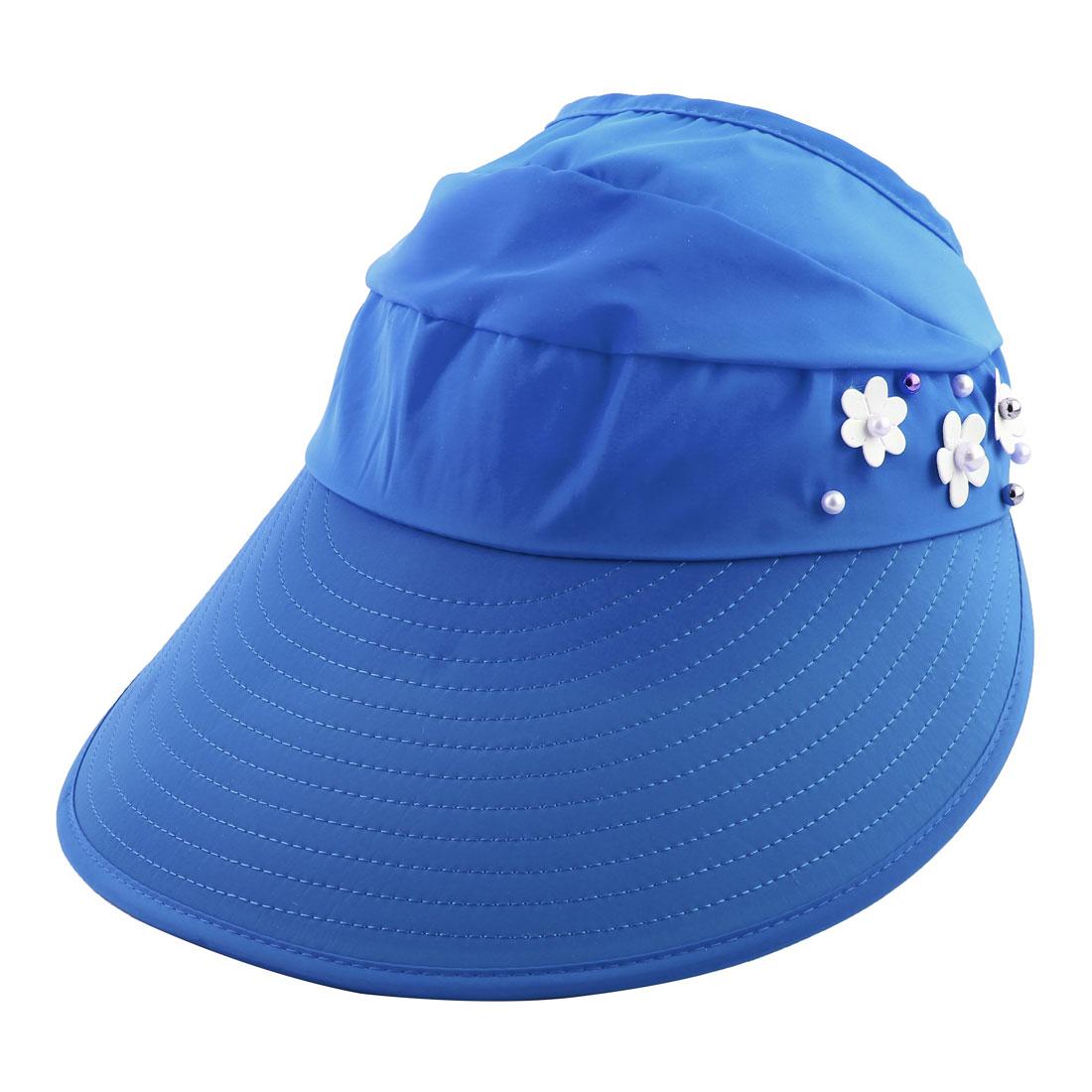 Woman Imitation Pearl Flower Decor Adjustable Summer Beach Floppy Cap Sun Visor Hat Blue