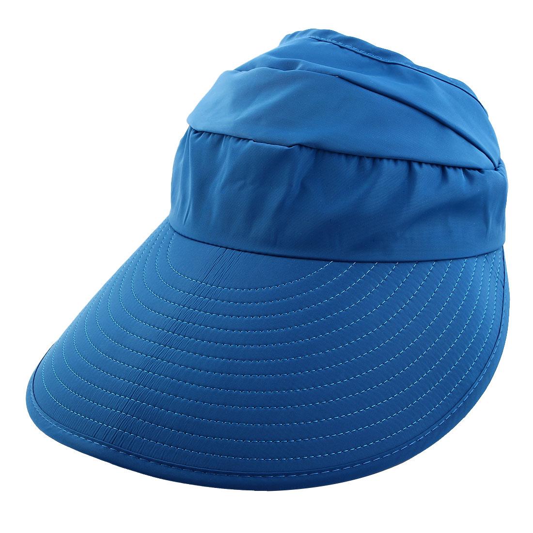Lady Polyester Leaf Printed Summer Travel Holiday Beach Floppy Cap Sun Visor Hat Blue