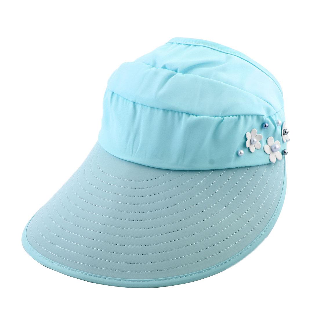 Woman Imitation Pearl Flower Decor Adjustable Summer Beach Floppy Cap Sun Visor Hat Light Blue