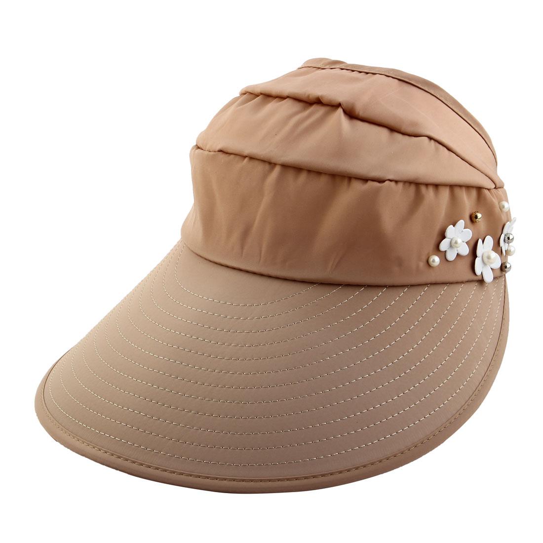 Woman Flower Decor Adjustable Travel Sports Summer Beach Floppy Cap Sun Visor Hat Khaki