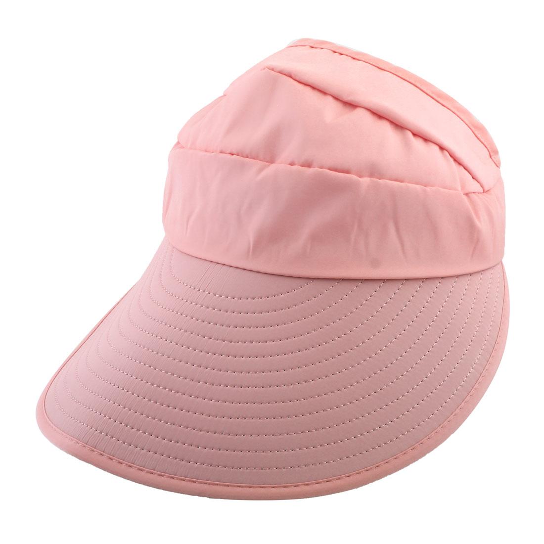 Lady Polyester Leaf Printed Summer Travel Holiday Beach Floppy Cap Sun Visor Hat Pink