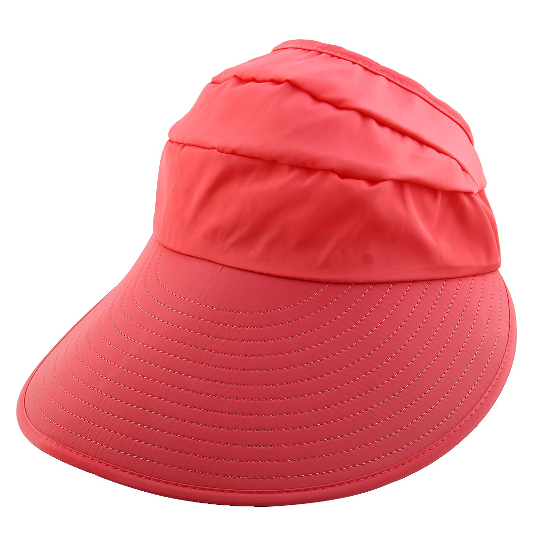 Lady Polyester Leaf Printed Summer Travel Holiday Beach Floppy Cap Sun Visor Hat Salmon Pink