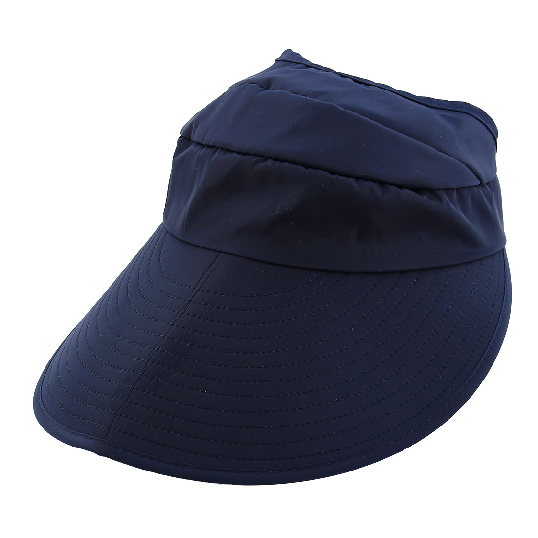 Lady Polyester Leaf Printed Summer Travel Holiday Beach Floppy Cap Sun Visor Hat Navy Blue