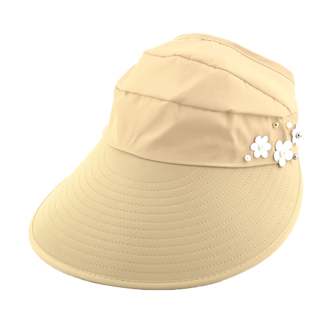 Woman Flower Decor Adjustable Travel Sports Summer Beach Floppy Cap Sun Visor Hat Beige