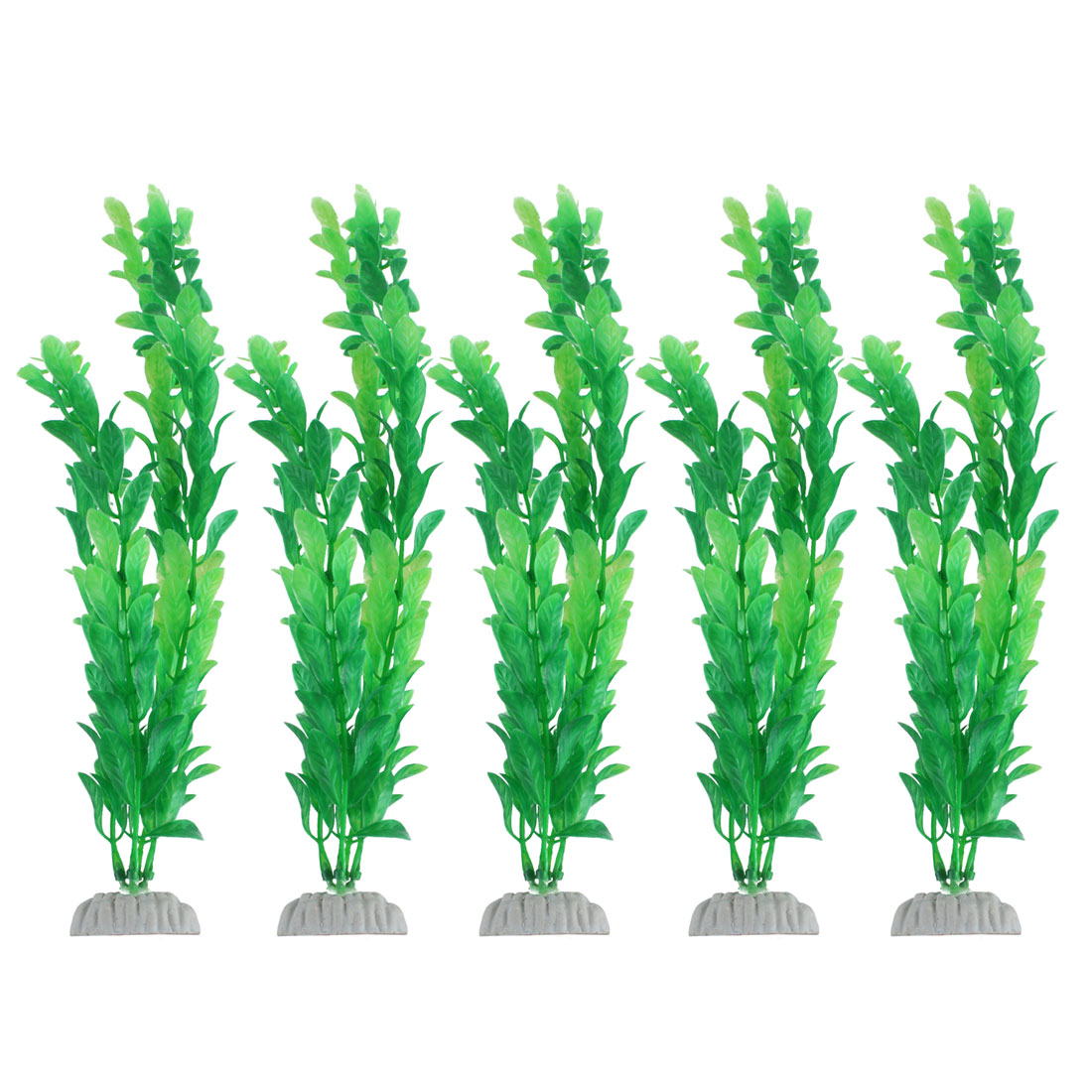 Fishbowl Aquarium Plastic Artificial Underwater Plant Grass Ornament Green 13 Inch Height 5pcs