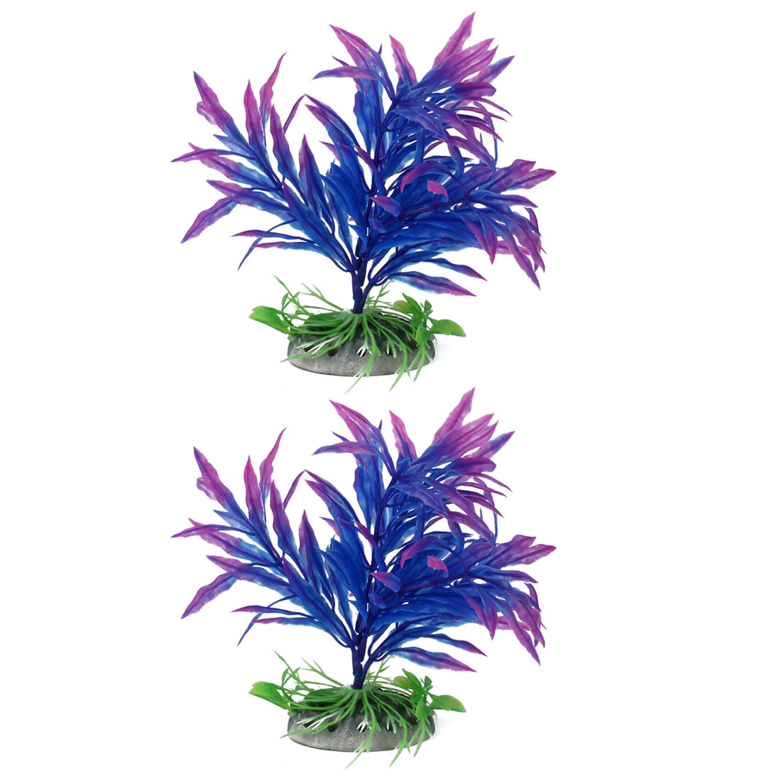 Aquarium Ceramic Base Artificial Plant Adornment Underwater Landscape Manmade Ornament Purple 2pcs