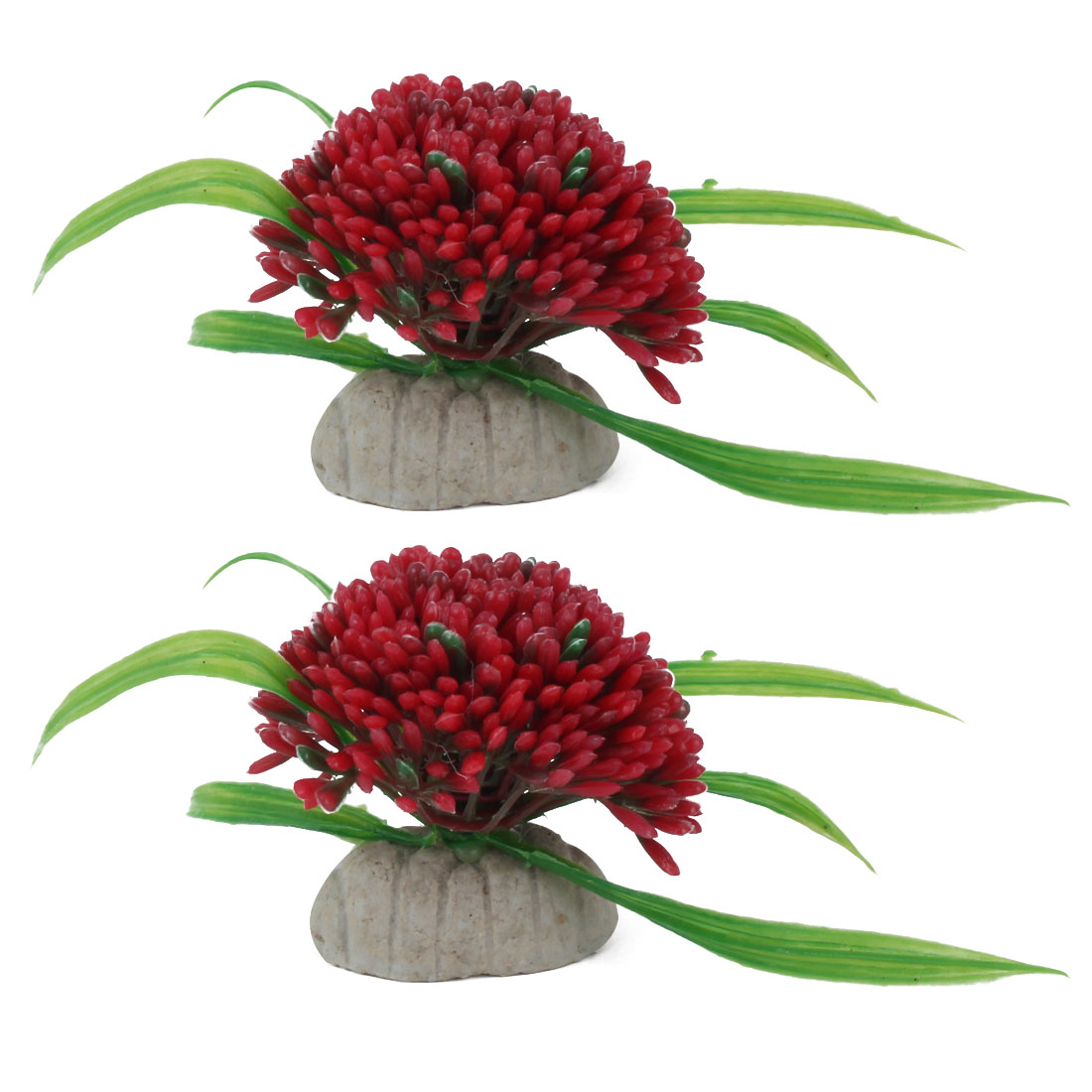 Aquarium Ceramic Base Artificial Plant Adornment Underwater Landscape Manmade Ornament Red 2pcs