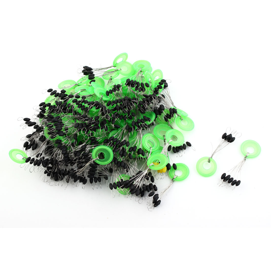 Rubber Oval Shaped Bead Fishing Float Floater Bobber Stopper Fish Tackle Tool Black 100pcs