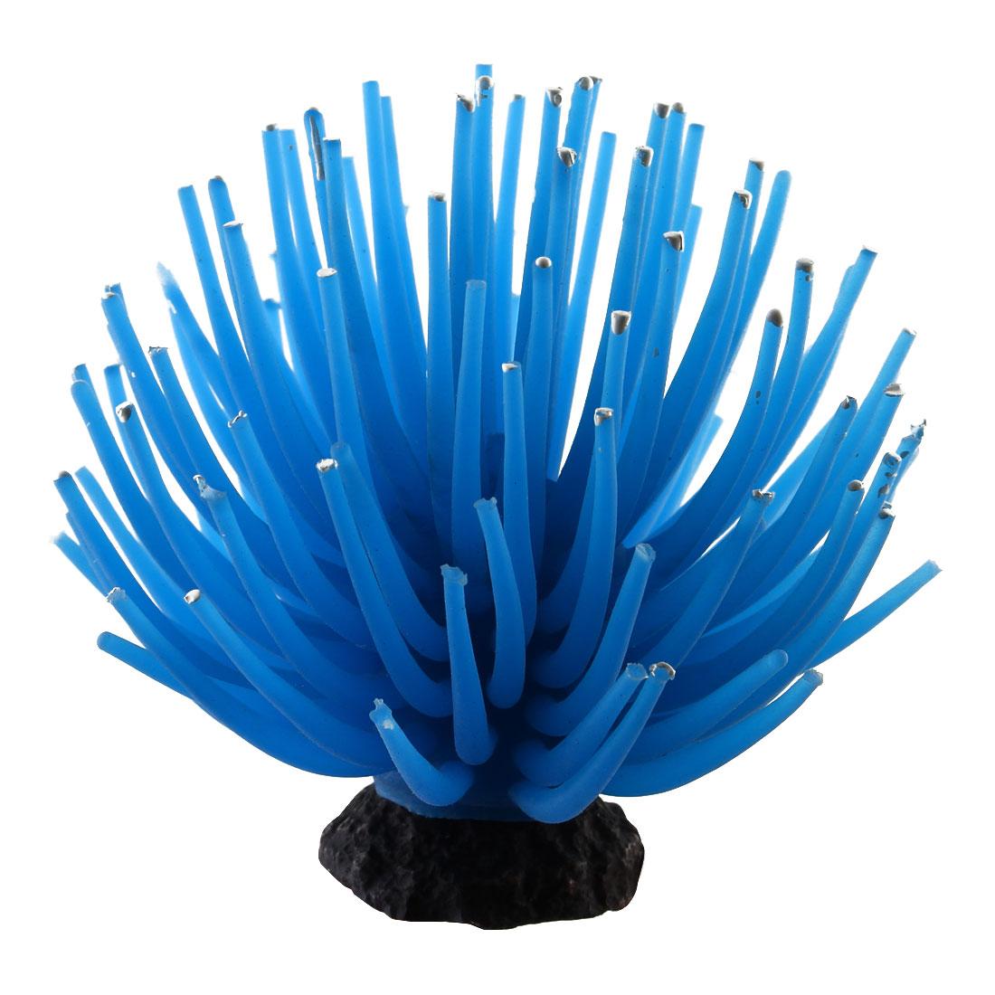 Aquarium Ceramic Base Artificial Coral Adornment Underwater Landscape Manmade Ornament Blue