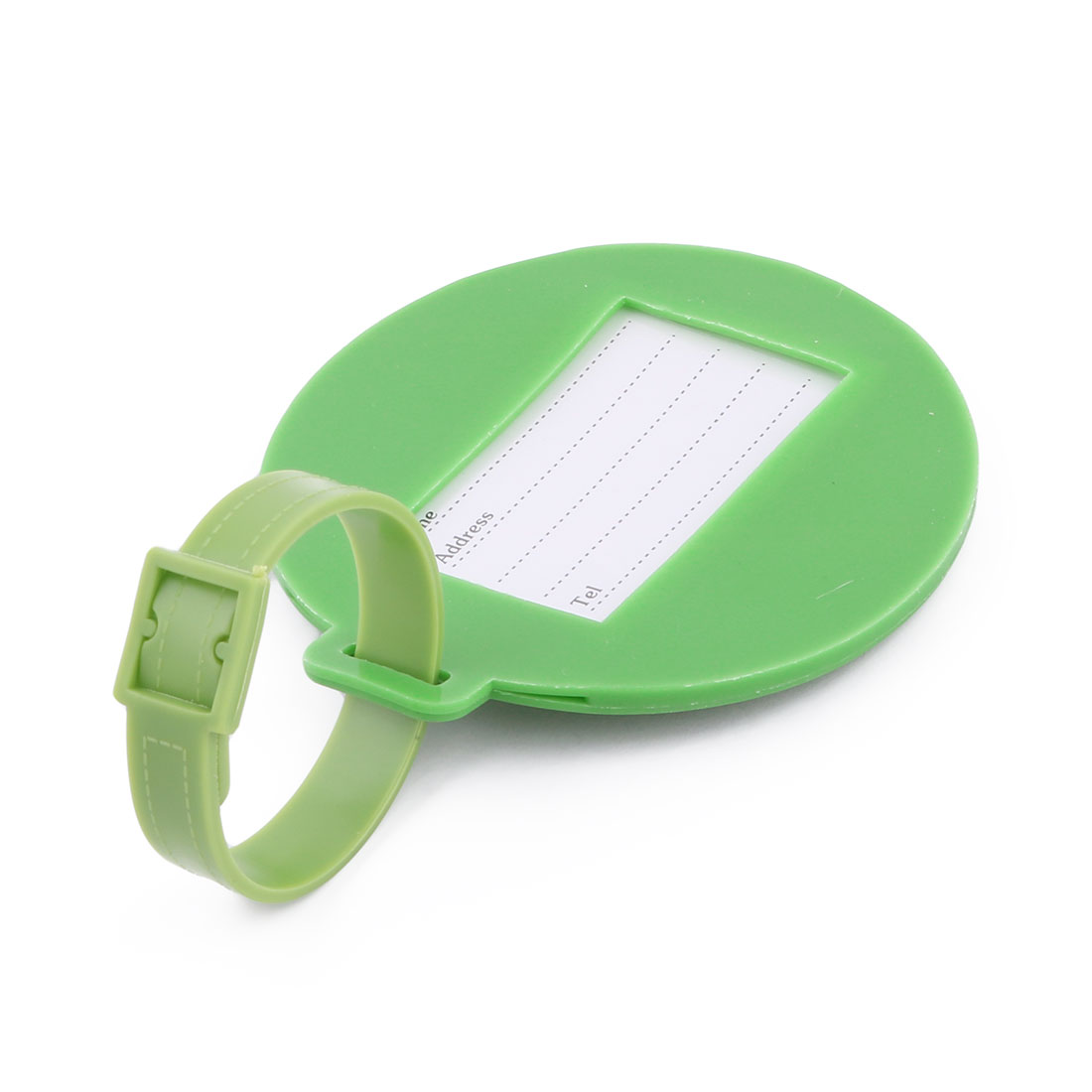 Silicone Round Shape Airplane Travel Suitcase Label Luggage Tag Name Address Card Holder Green