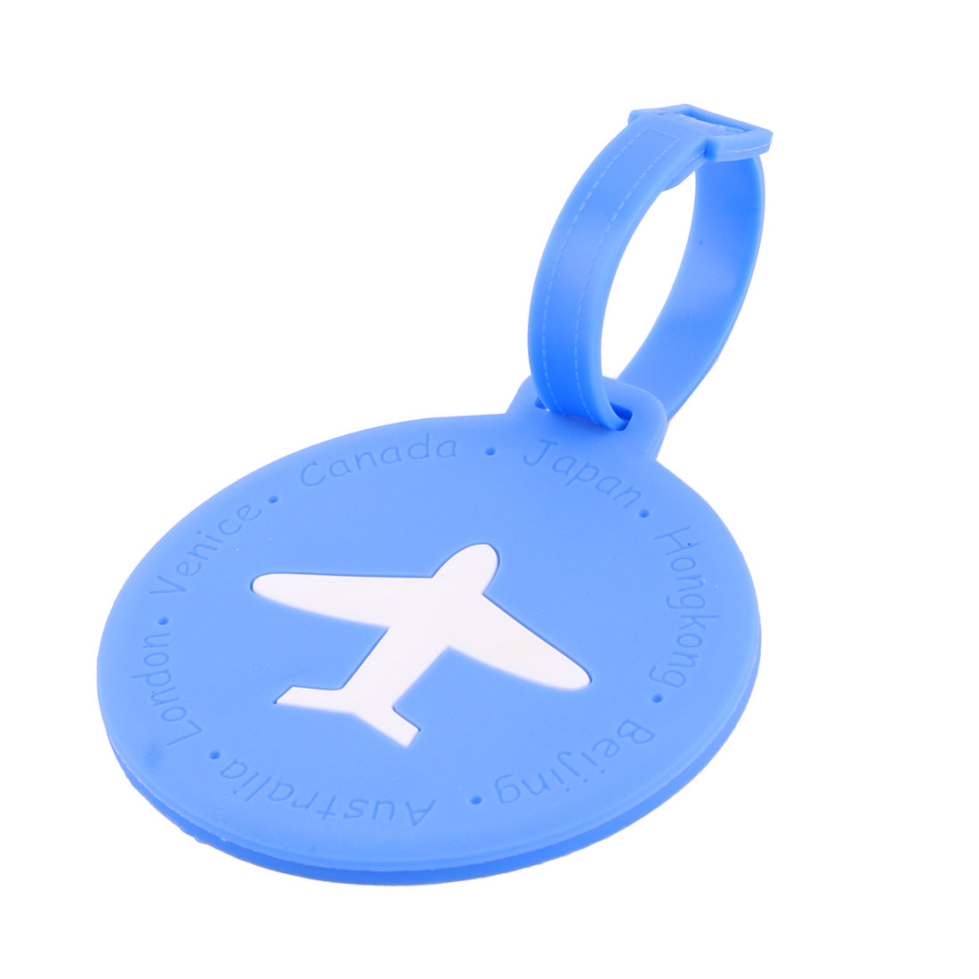 Silicone Round Shape Airplane Travel Suitcase Label Luggage Tag Name Address Card Holder Blue