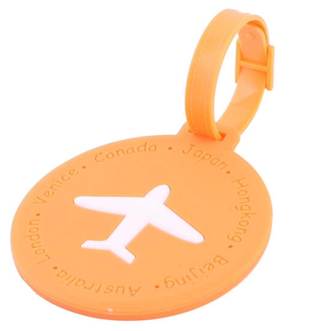 Silicone Round Shape Airplane Travel Suitcase Label Luggage Tag Name Address Card Holder Orange