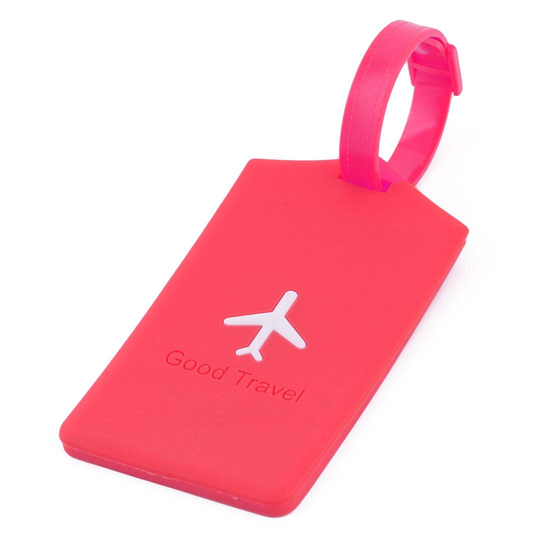 Silicone Rectangle Airplane Travel Suitcase Label Luggage Tag Name Address Card Holder Fuchsia