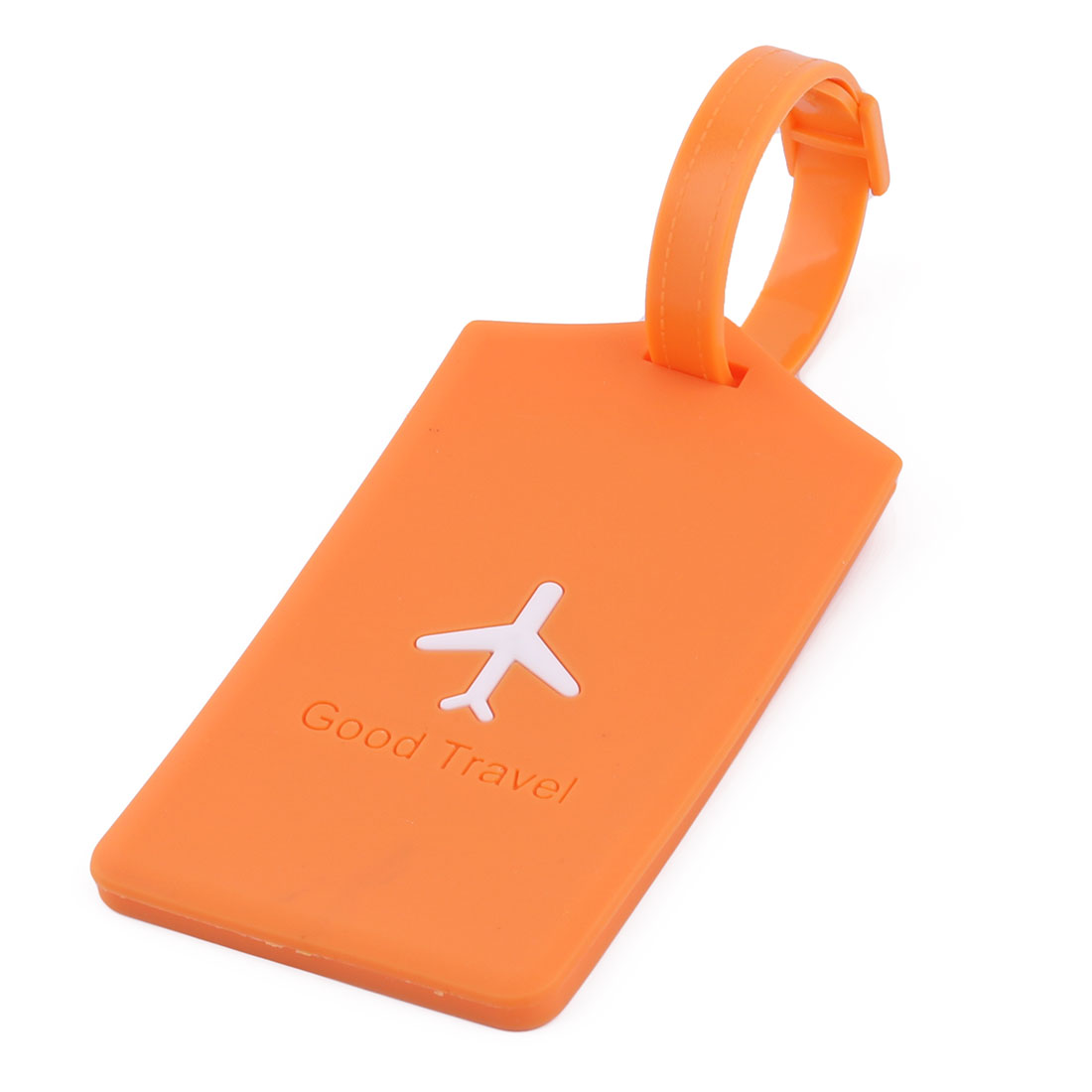 Silicone Rectangle Airplane Travel Suitcase Label Luggage Tag Name Address Card Holder Orange