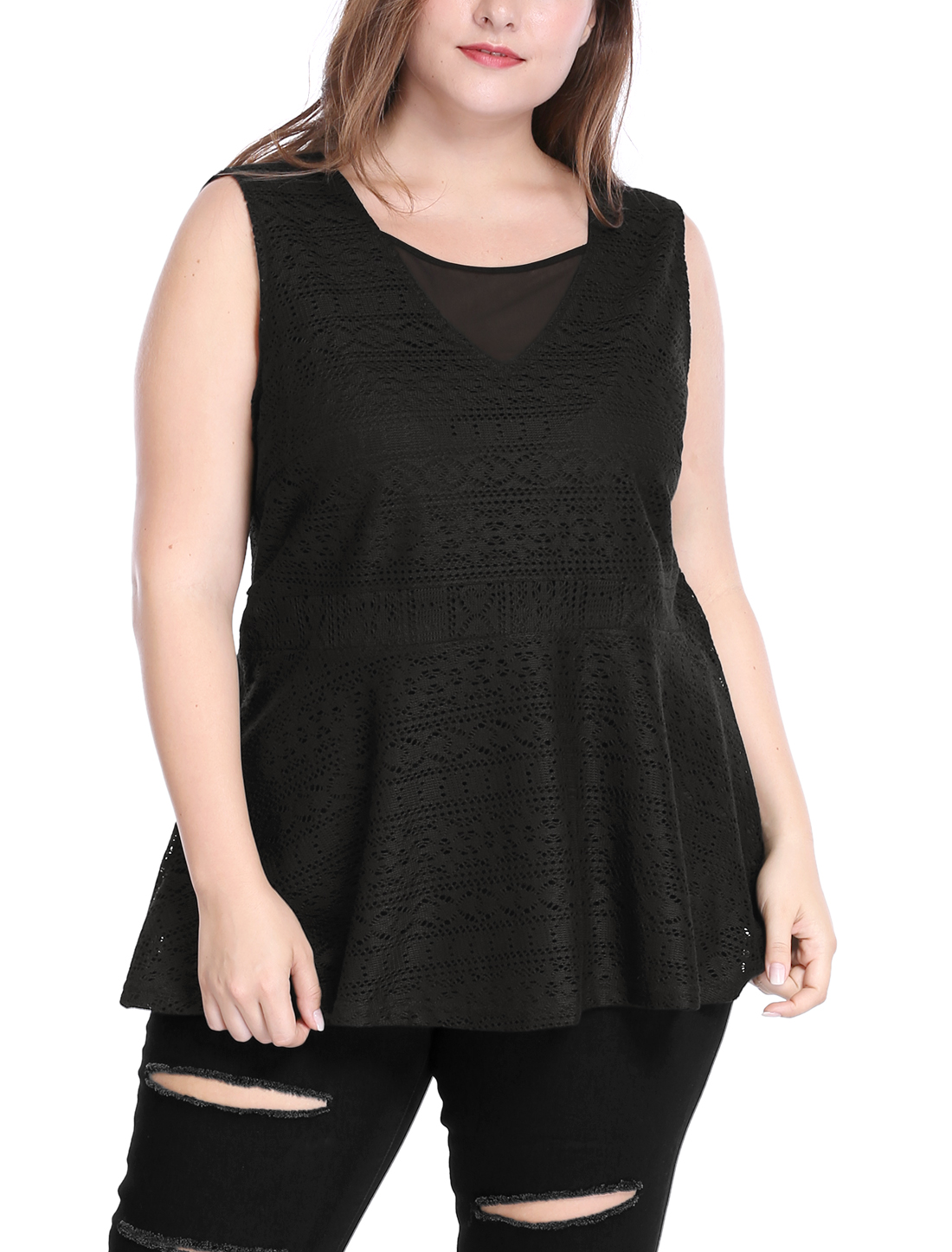 Women Plus Size Sheer Mesh V Neck Sleeveless Lace Peplum Top Black 2X