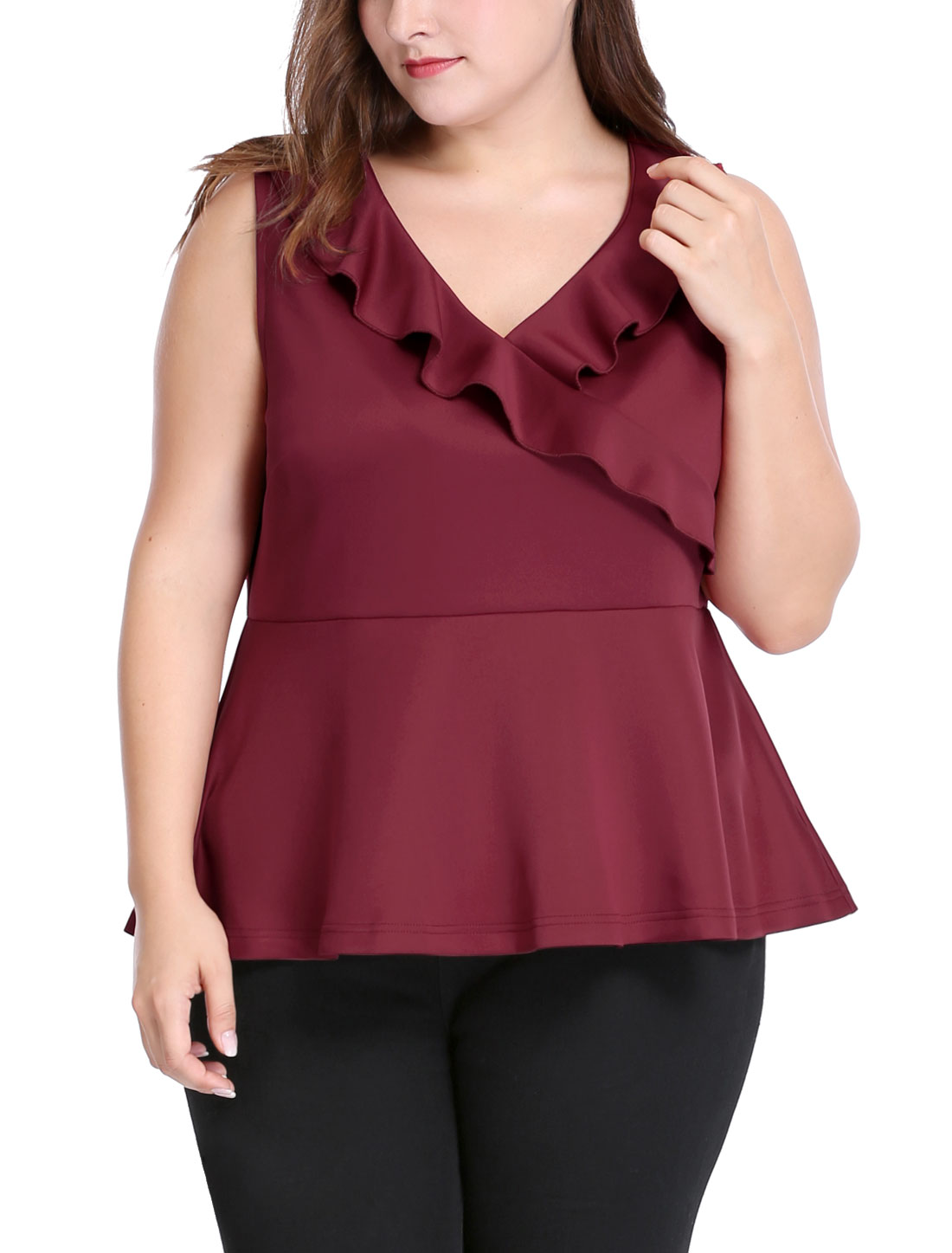 Women Plus Size V Neck Sleeveless Ruffle Trim Peplum Top Red 3X